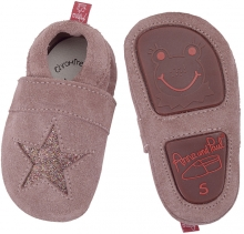 Anna and Paul suede toddler shoe stars rose with rubber sole L-22
