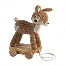 sebra chrochet pull-along toy, deer light brown