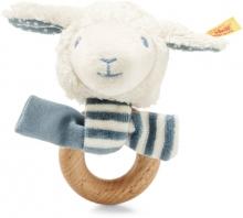 Steiff Rattle Lamb Leno 12cm white/petrol