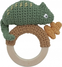 Sebra Crochet rattle Carley on ring moss green