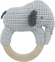 Sebra Crochet rattle Finley on ring dew grey