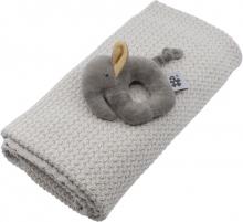Sebra Gift set with baby blanket and rattle dune beige