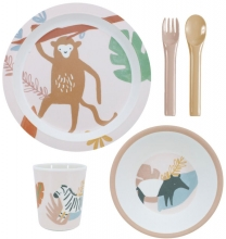 Sebra Melamine dinner set (5 pcs.) Wildlife sunset pink