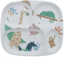 Sebra Melamine plate with 4 rooms Wildlife