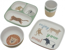 Sebra Bamboo melamine dinner set (4 pcs.) Wildlife