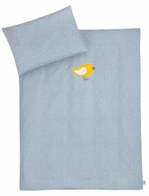 Zöllner Organic bedding with appliqué Happy Bird blue 100x135cm