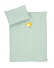 Zöllner Organic bedding with appliqué Happy Bird sage 100x135cm