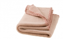 Disana Merino wool plaid Melange rosé-nature 100x80cm
