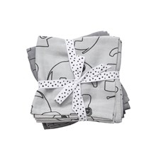 Done by Deer Burp cloth, 2-pack, Contour, grey