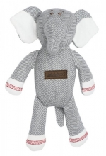 Juddlies design Cottage Collection - Rattle cotton (organic) - Elephant - Driftwood Grey