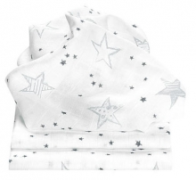 Odenwälder Mull diapers Scribble Stars 3pack grey