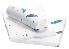 Odenwälder molleton cloth feather 3in1 pack 80 x 80cm blue