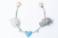 Deine Sommerliebe Pram chain elephants baby blue