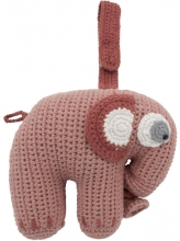 Sebra Crochet musical toy Fanto the elephant blossom pink
