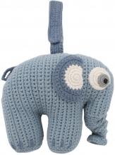Sebra Crochet musical toy Fanto the elephant powder blue