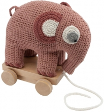 Sebra Crochet pull-along toy Fanto the elephant blossom pink