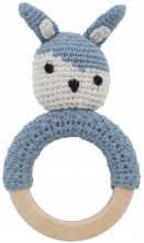 Sebra Crochet rattle on wooden ring Siggy powder blue