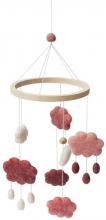 Sebra Felted Baby mobile clouds cotton candy pink