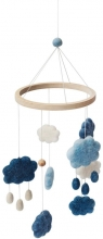 Sebra Felted Baby mobile clouds denim blue