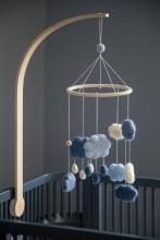 Sebra Felted Baby mobile clouds denim blue