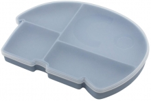 Sebra Silicone plate with lid Fanto powder blue