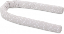 Tobi babybay Baby bed bumper Piqué pearl grey with stars white all babybay models