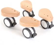 Tobi babybay Wheel set with collision protection 4 pc. varnished wood