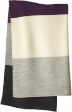 Disana Merino wool knit plaid plum/grey 100x80cm