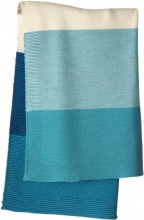 Disana Merino wool knit plaid lagoon/blue 100x80cm