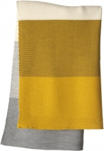 Disana Merino wool knit plaid curry/gold 100x80cm
