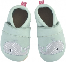 Anna and Paul leather toddler shoe whale mint with leather sole