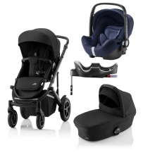Britax Römer SMILE III Space Black COMFORT PLUS BUNDLE (incl. Stroller, carrycot, BABY-SAFE i-SIZE Moonlight Blue, Flex Base)