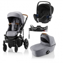 Britax Römer SMILE III Frost Grey COMFORT PLUS BUNDLE (incl. Stroller, carrycot, BABY-SAFE i-SIZE Cosmos Black, Flex Base)