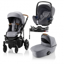 Britax Römer SMILE III Frost Grey COMFORT PLUS BUNDLE (incl. Stroller, carrycot, BABY-SAFE i-SIZE Storm Grey, Flex Base)