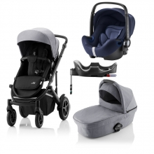 Britax Römer SMILE III Frost Grey/Black COMFORT PLUS BUNDLE (incl. Stroller, carrycot, BABY-SAFE i-SIZE Moonlight Blue, Flex Base)