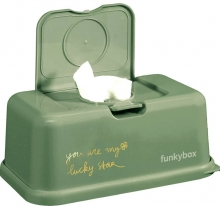 Funkybox for wet wipes olive green clover