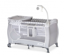 Hauck Babycenter travel cot Teddy grey