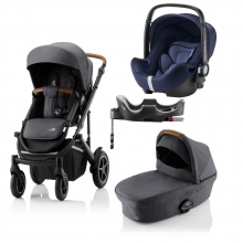 Britax Römer SMILE III Midnight Grey COMFORT PLUS BUNDLE (incl. Stroller, carrycot, BABY-SAFE i-SIZE Moonlight Blue, Flex Base)