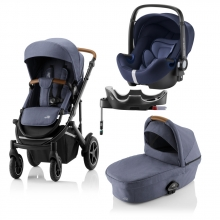 Britax Römer SMILE III Indigo Blue COMFORT PLUS BUNDLE (incl. Stroller, carrycot, BABY-SAFE i-SIZE Moonlight Blue, Flex Base)
