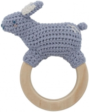Sebra Crochet rattle Bluebell on ring lavender