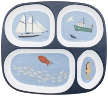 Sebra Melamine plate with 4 rooms Seven Seas