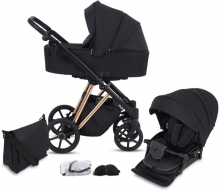 Knorr Luzon Rosegold Edition pram and stroller black