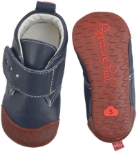 Anna and Paul leather toddler shoe Charlie navy with rubber sole size L-22