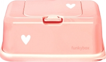 Funkybox for wet wipes light pink Hearts shiny