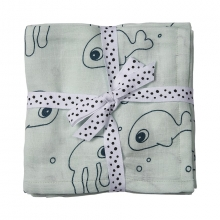 Done by Deer Swaddle 2-pack Sea Friends blue 120 x 120 cm