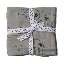 Done by Deer Swaddle 2-pack Sea Friends grey 120 x 120 cm