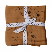 Done by Deer Swaddle 2-pack Sea Friends mustard 120 x 120 cm