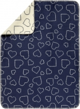 Alvi GOTS certified Cotton blanket Hearts navy 75 x 100 cm