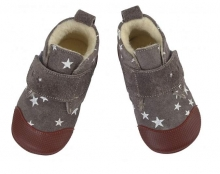 Anna and Paul Leather toddler shoe Charlie grey with rubber sole size M-20/21