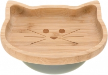 Lässig Bamboo childrens plate with suction pad Little Chums Cat